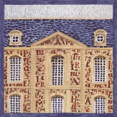 Carte postale Facade lettrée
